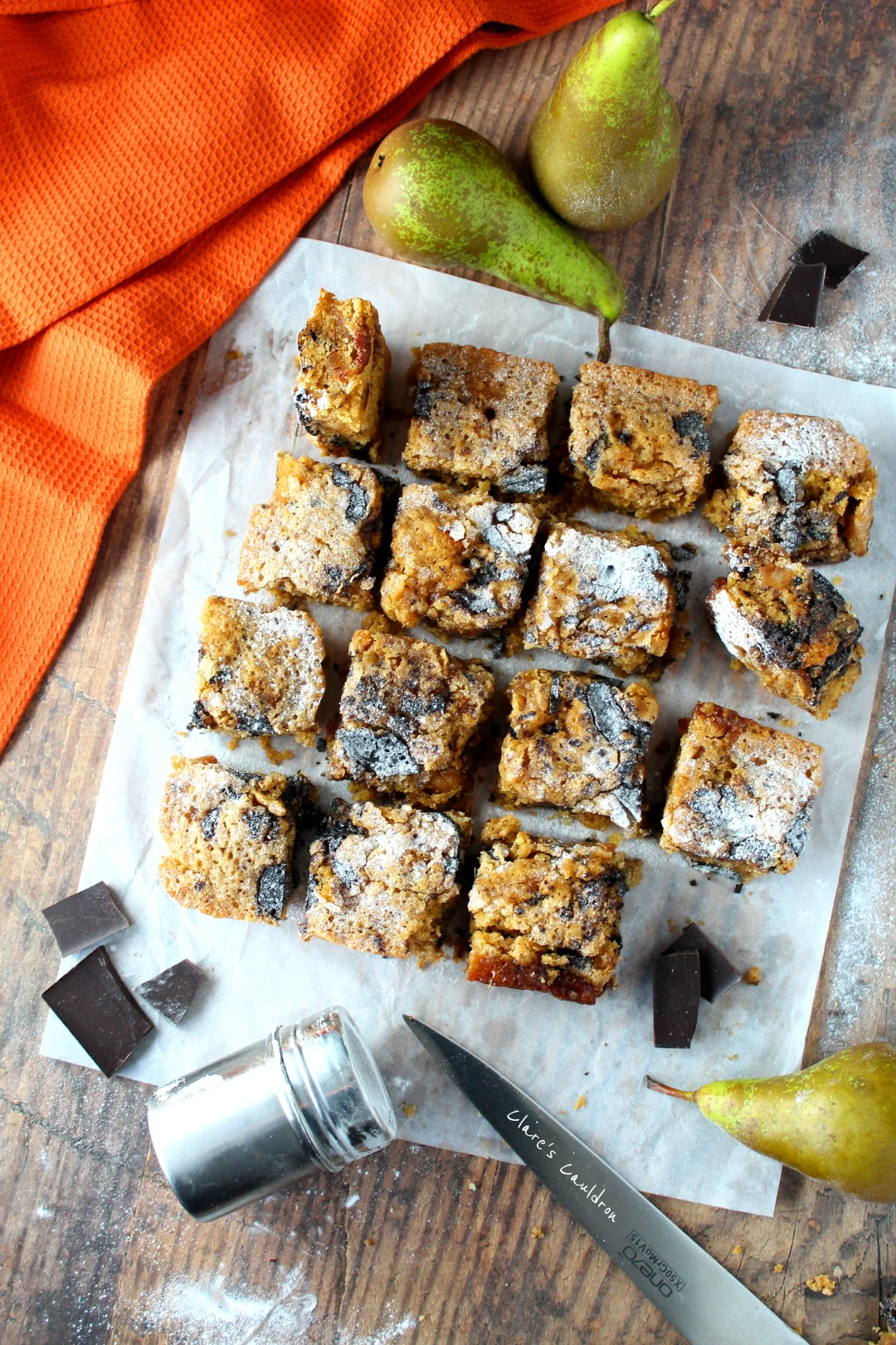 Pear and Caramel Blondies