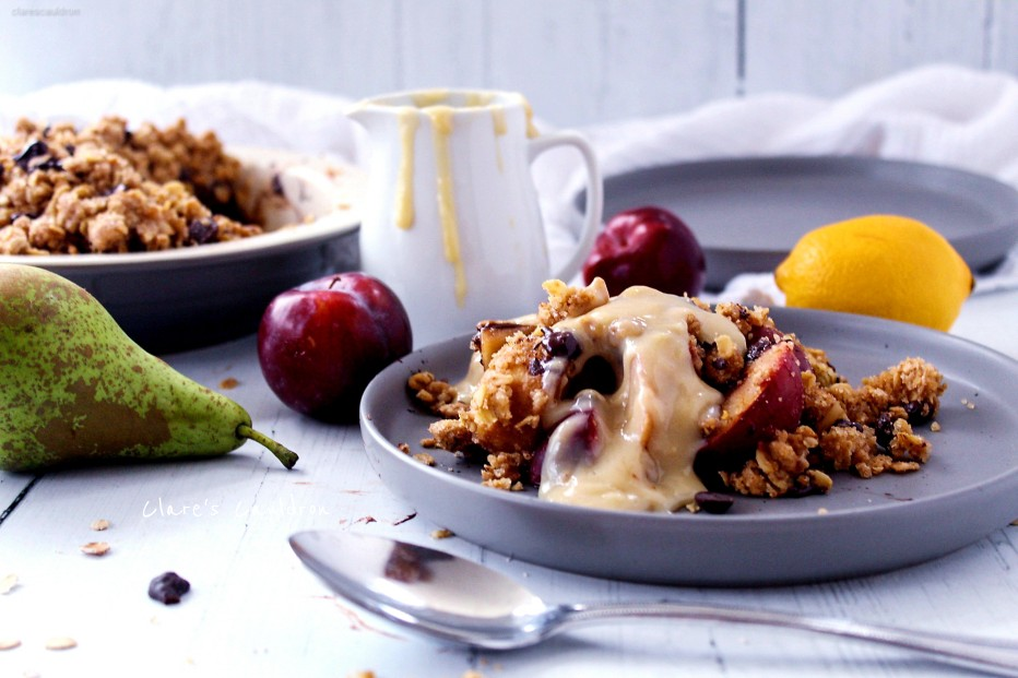 Pear, Plum and Chocolate Crumble and CUSTARD !!!!!